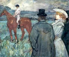 At the Races - Artist: Henri de Toulouse-Lautrec Completion Date: 1899 Style: Post-Impressionism Genre: genre painting Technique: oil Material: canvas Gallery: Musee Toulouse Lautrec Tags: animals, male-portraits, couples, horses Henri De Toulouse Lautrec, Renoir, Charles Angrand, Canvas Art Prints, Oil On Canvas, Georges Seurat, Oil Painting Reproductions, Edgar Degas, French Art