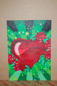 heart & roses perler bead art made by me - amanda wasend