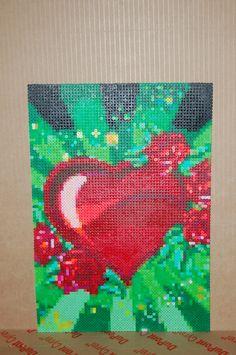 heart & roses perler bead art made by me - amanda wasend