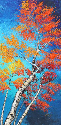 Mothers Day Gift Birch Tree Painting Large by BourbeauStudios, $429.00