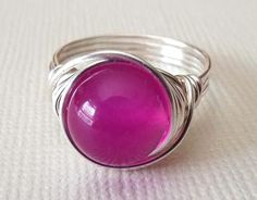 Pink Stone Ring Agate Ring Wire Wrapped Ring by PepperandPomme