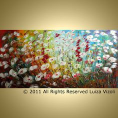 Abstract Modern Textured Flowers Landscape Palette Knife Colorful Painting by Luiza Vizoli