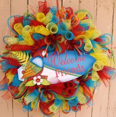 Parrot Surf Board Summer Deco Mesh Wreath by SouthernAccentsEtc, $95.00
