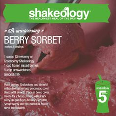 FIT with Shellby - Shakeology Berry Sorbet Greenberry Shakeology, Beachbody Shakeology, Protein Shake Recipes, Healthy Recipes, Healthy Snacks, Healthy Eating, Protein Shakes, Protein Smoothies, Juice Recipes