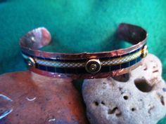 Bangle bracelet copper and recycled vintage blue by JanEOjewelry, $19.95