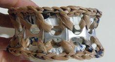 Plastique Recreations: Free Pattern - Front Post Pop Tab Plarn Bracelet ..added YouTube video tutorial