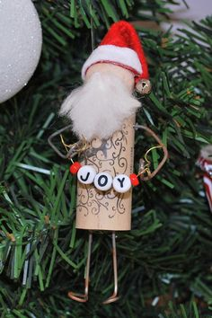 Wine Cork Santa Ornament