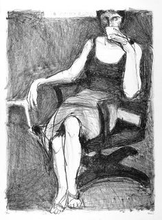 Richard Diebenkorn (American, 1922-1993). <em>Seated Woman Drinking from Cup</em>, 1965. Lithograph, Sheet: 30 x 22 1/8 in. (76.2 x 56.2 cm). Brooklyn Museum, National Endowment for the Arts and Bristol-Myers Fund, 72.144. © artist or artist's estate (Photo: Brooklyn Museum, 72.144_PS2.jpg)