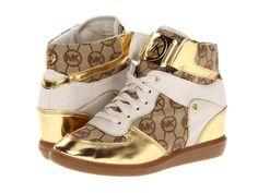 Auth MICHAEL KORS Nikko Hidden Wedge High Top Sneaker Shoes Gold Sz 9 NEW IN BOX picclick.com