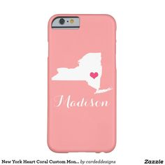 New York Heart Coral Custom Monogram Barely There iPhone 6 Case