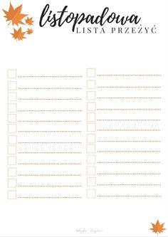 listopadowa lista przeżyć Minka, Bujo, Bullet Journal, Printables, Print Templates