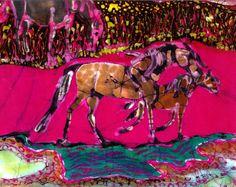 Mare and Foal in Pink Field    horses   original by amityfarmbatik