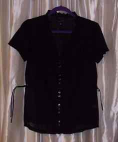 Black lightweight cotton shirt tucks + side ties, short sleeve M BANANA REPUBLIC #BananaRepublic #Blouse #Career