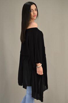 Γυναικεία μπλούζα φαρδιά MPLU-0887-bl   Μπλούζες > Μπλούζες και Mαύρο Bell Sleeves, Bell Sleeve Top, Tops, Women, Fashion, Moda, Fashion Styles, Fashion Illustrations, Woman