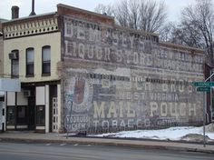 Dempsey's Liquor Store/Mail Pouch Tobacco ghost signs, Waterloo, New York