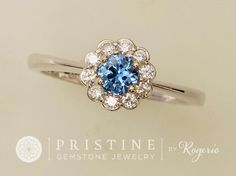 Blue Sapphire Engagement Ring Flower Design by PristineJewelry