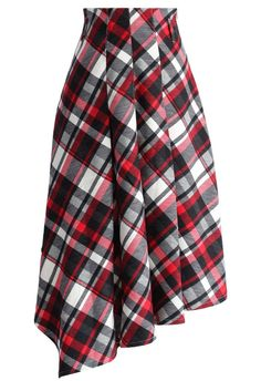 Swing Melody Asymmetric Skirt in Red Plaid - New Arrivals - Retro, Indie and Unique Fashion