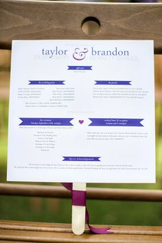 Program design and idea for an outdoor wedding.  Photography by ericboneskephotography.com