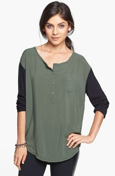 Rubbish® Woven Henley Top (Juniors) available at #Nordstrom
