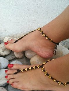 Golden color beads  macrame Foot jewelry Anklet by ArtofAccessory, $15.00 by marianna m.