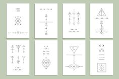 Set of vector trendy geometric icons +16 templates of cards. Alchemy symbols collection. Religion, philosophy, spirituality, occultism.