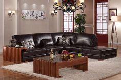 Caesar Palace Chinese Style Black Leather Corner Sofa Set(left) - MelodyHome.com