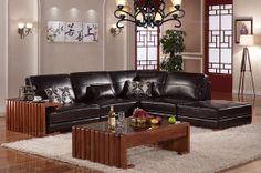 Caesar Palace Chinese Style Black Leather Corner Sofa Set(left) - MelodyHome.com