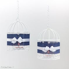 Navy Blue Wire Bird Cages Metal White with by OpenVintageShutters, $14.00