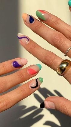 Gradient Nails, Cute Acrylic Nails, Cute Nails, Pretty Nails, Gel Nails, Summer Acrylic Nails, Coffin Nails, Gel Nail Polish Colors, Summer Nails