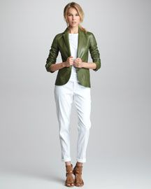 Vince Fitted Leather Blazer & Straight-Leg Stretch Trousers