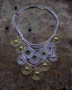 TIVOLI  Lacy Silver and Brass Circles Wire Crocheted by Ksemi, $155.00