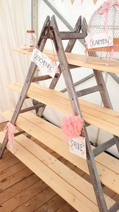 Amazing Wedding Table Decor – Wedding / Wedding / Gift Table / Ladder / Birdcage / Gifts / DIY / H – Dekoration Hochzeit - Wedding Table Gift Table Wedding, Wedding Reception Decorations, Diy Wedding, Wedding Favors, Wedding Gifts, Table Decorations, Candybar Wedding, Decor Wedding, Ladder Wedding
