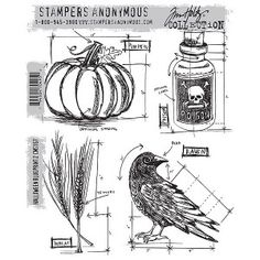 Stampers Anonymous Tim Holtz Cling Mount Stamp - Halloween Blueprint 2