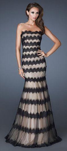 Striped Mermaid Prom Dress