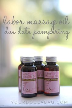Labor Massage Oil is a nice way to pamper after your due date. The clary sage and lavender make this a must for your doula bag.  Purchase as a client gift too.