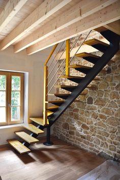 Стълба Home Stairs Design, Railing Design, Interior Stairs, Home Interior Design, House Design, Stair Design, Loft Staircase, Modern Staircase, House Stairs