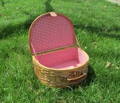WICKER PICNIC BASKET Red and White Checker by TREASUREandSUCH, $24.00