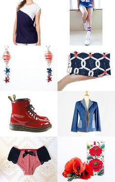 """☛http://www.etsy.com/shop/paroliro """"Hey Baby It's the 4th of July!"""" patriotic red, white and blue summer handmade and vintage offerings.  [*Click on image to see all 16 items I chose]☚  ~ Pinned with TreasuryPin.com"""
