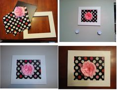 DIY Girls bedroom picture. Wood frame, white paint, cardboard, fabric and flower.
