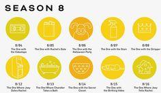 Friends Episodes Iconized ~ Season 8 ~ Art by Re:design First Episode Of Friends, Friends Episodes, Friends Season 8, 10 Anniversary, Best Tv Shows, Halloween Party, Design, Halloween Parties