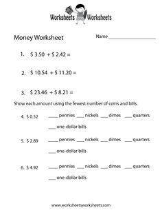 Adding Money Worksheet - Free Printable Educational Worksheet