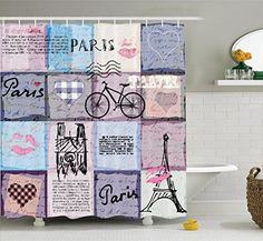 Ambesonne Apartment Decor Collection Grunge Textured Retro Collage of Paris with Famous Object Eiffel Tower European Home Decor Polyester Fabric Bathroom Shower Curtain Set with Hooks Multi * You can get additional details at the image link.