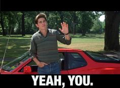 Jake Ryan says hi.  Who didn't LOVE this movie?!  Sixteen Candles - a classic.  Best scene when Molly Ringwald comes out of the church and this is what she sees!