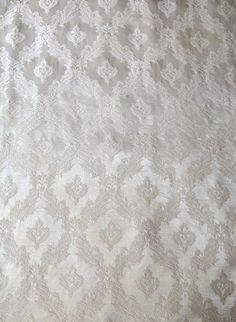 Satin Brocade Curtains Champagne with Fancy Trim Extra Wide