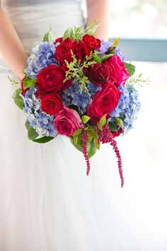 Red roses and blue hydrangeas: http://www.stylemepretty.com/collection/2319/