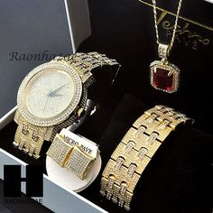 HIP HOP ICED OUT MEEK MILL LAB DIAMOND WATCH RUBY NECKLACE BRACELET EARRING S001