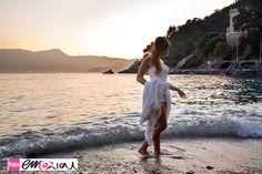 Destination wedding Italy;The Italian Riviera - Zoagli  - Bride on the beach