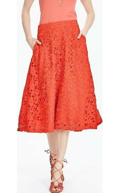 Banana Republic Red Lace Midi Skirt Geo red. Banana Republic clothing The flirty midi skirt, now in bold red lace. Banded waist. Invisible back zip. On seam pockets. Partially lined. High waist fit.