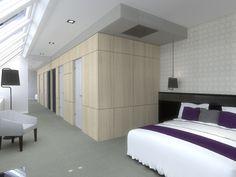 Győr belvárosában, meglévő, nyolc szintes hotel teljeskörű belsőépítészeti kialakítása.