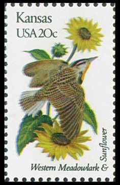 1982 Kansas State Stamp - State Bird Western Meadowlark - State Flower Sunflower-